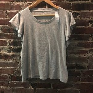 Flutter sleeve grey T-shirt new with tags